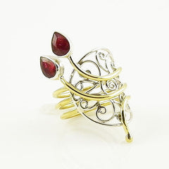 Ruby Sterling Silver Two Tone Open Scroll Work Ring - Keja Designs Jewelry