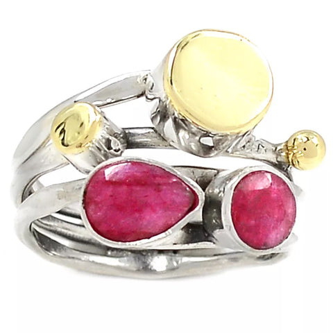 Ruby Sterling Silver Two Tone Ring