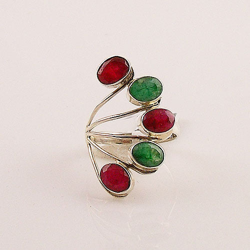 Ruby & Emerald Sterling Silver Ring - Keja Designs Jewelry