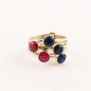 Sapphire & Ruby Sterling Silver Two Tone Stack Ring - Keja Designs Jewelry