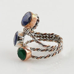 Sapphire & Emerald Two Tone Sterling Silver Ring - Keja Designs Jewelry