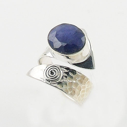 Sapphire Sterling Silver Spiral Adjustable Ring - Keja Designs Jewelry