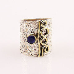 Two Tone Sapphire Wide Band Ring - Keja Designs Jewelry