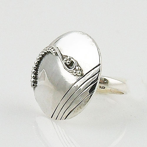 Patterned Disk Sterling Silver Artisan Ring - Keja Designs Jewelry