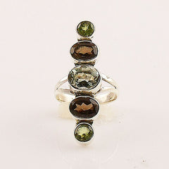 Prasiolite, Smoky Quartz  & Peridot Sterling Silver Ring - Keja Designs Jewelry