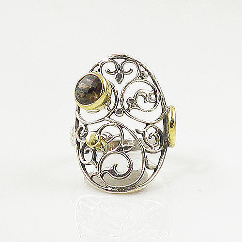 Smoky Quartz Open Filagree Sterling Silver Two Tone Ring - Keja Designs Jewelry