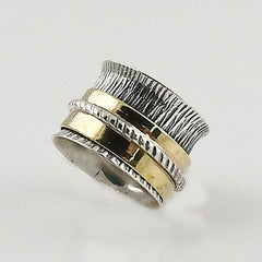 Spinner Ring - Two Tone - Wide Band Spinner - Keja Designs Jewelry
