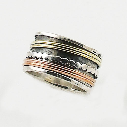Spinner Ring - Three Tone Rimmed Edge - Keja Designs Jewelry
