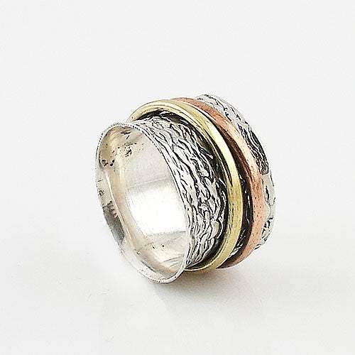 Spinner Ring Three Tone Two Spinner Keja Jewelry