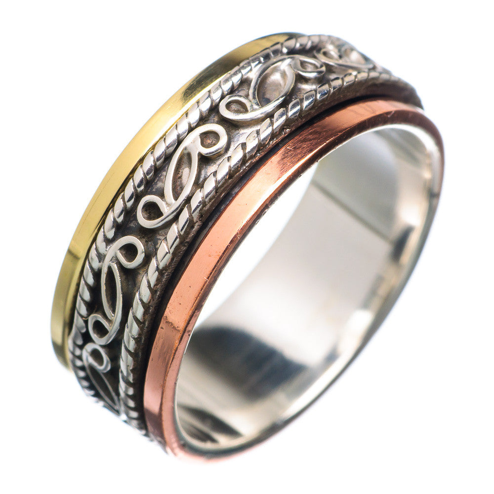 Spinner Ring Three Tone Ornate - Keja Designs Jewelry