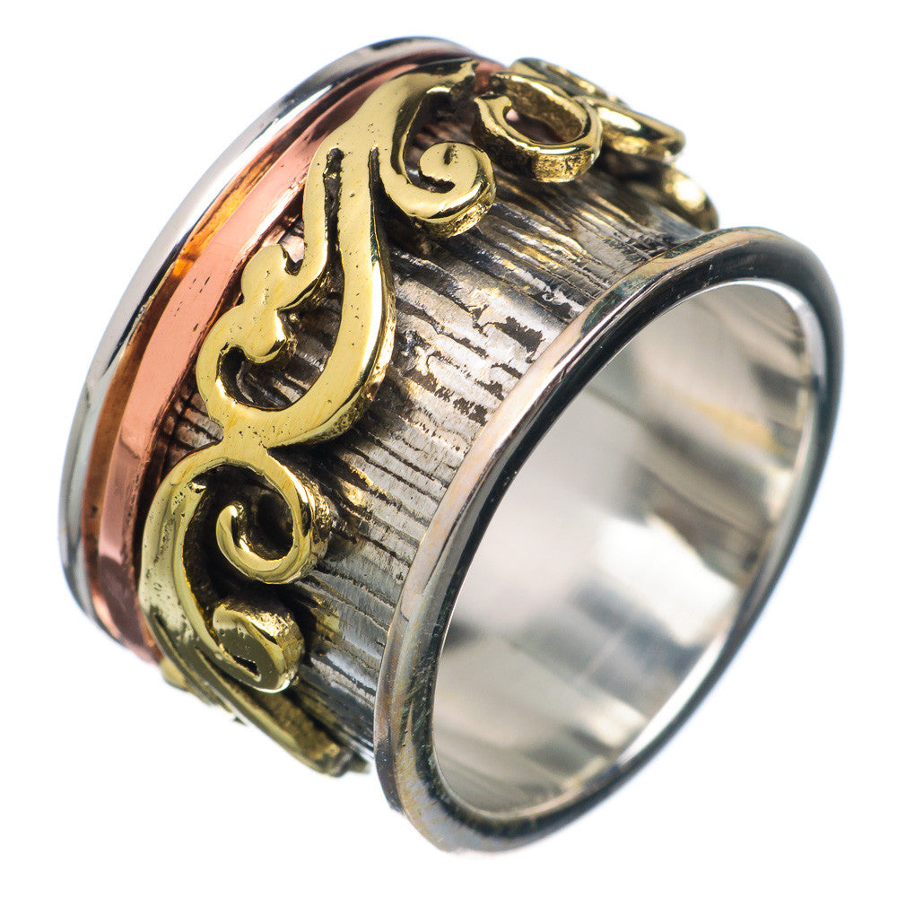 Spinner Ring - Scrolled Three Tone - Keja Designs Jewelry
