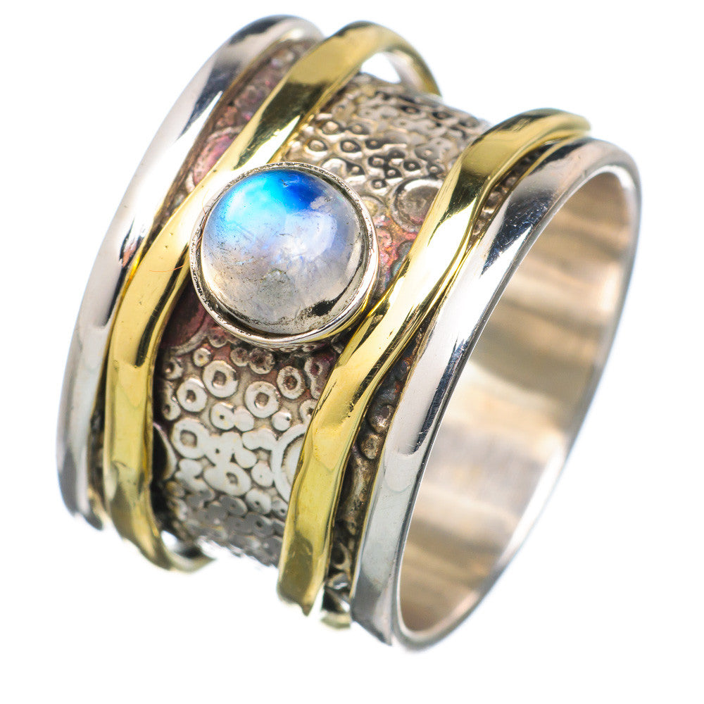 Spinner Ring Two Tone Moonstone Spinner - Keja Designs Jewelry
