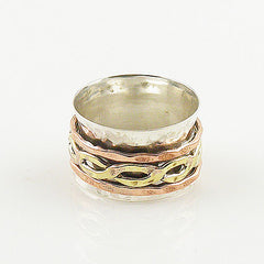 Spinner Ring - Three Tone Sprial Brass Infinite - Keja Designs Jewelry