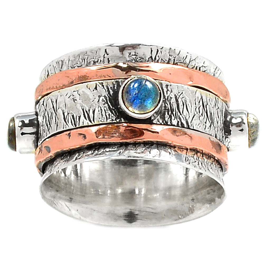 Spinner Ring Two Tone Labradorite Spinner - Keja Designs Jewelry