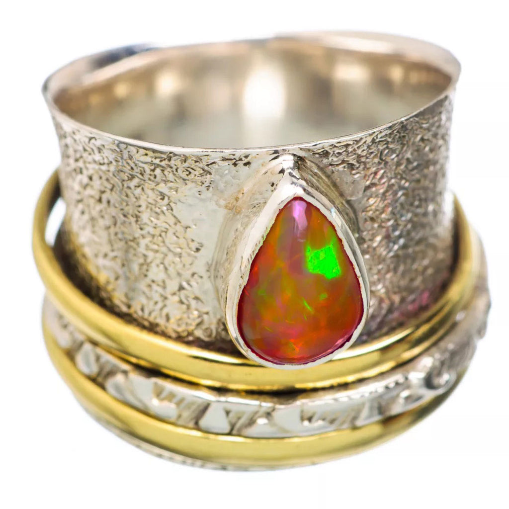 Spinner Ring Two Tone Ethiopian Opal Pear - Keja Designs Jewelry
