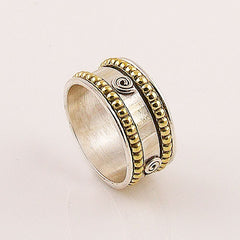 Spinner Ring - Two Tone Spiral & Rope Design - keja Jewelry - Keja Designs Jewelry
