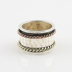 Spinner Ring Three Tone Hammered & Rope Design - Keja Designs Jewelry