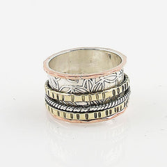 Spinner Ring - Three Tone Ribbed - keja jewelry - Keja Designs Jewelry