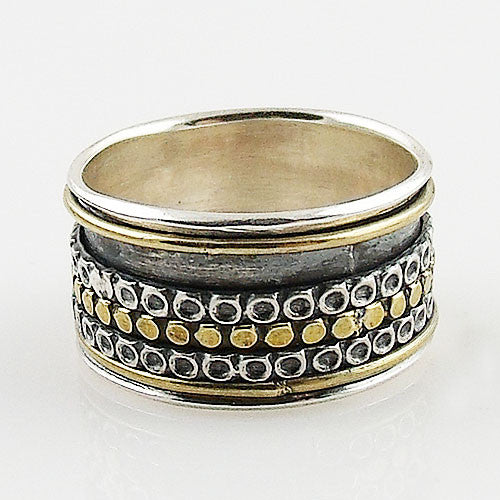 Spinner Ring - Two Tone with Patina Design - Keja Designs Jewelry