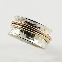 Spinner Ring Three Tone Sterling Silver Two Bands - Keja Designs Jewelry