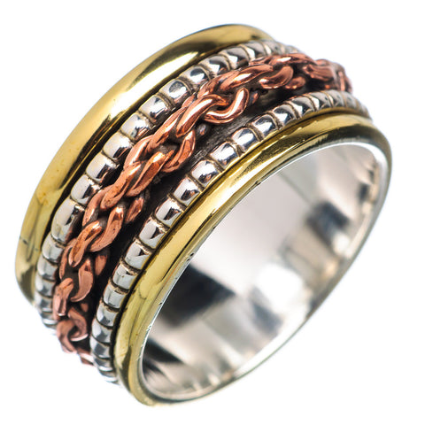 Spinner Ring - Three Tone Sterling Silver Chain Link Band