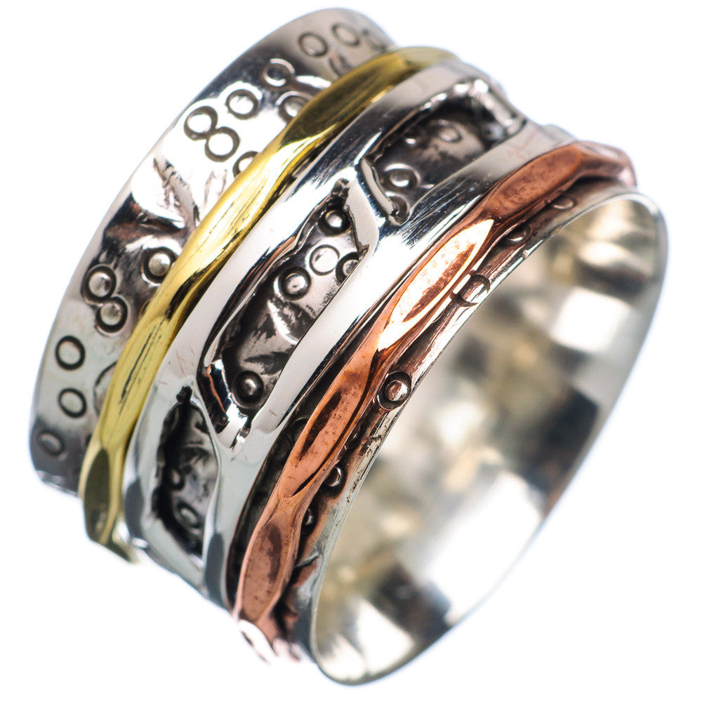 Spinner Ring - Ladder Sterling Silver Three Tone - Keja Designs Jewelry