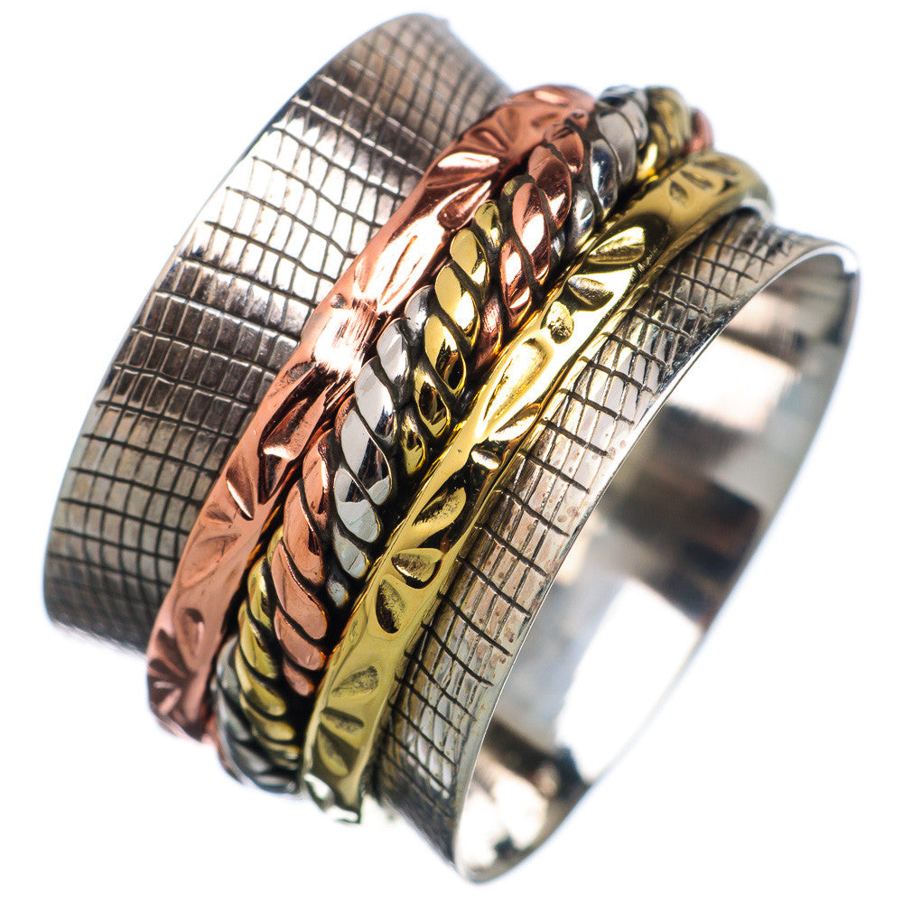 Spinner Ring - Three Tone Twisted Rope Band - Keja Designs Jewelry