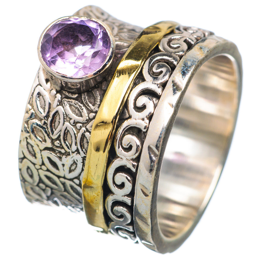 Spinner Ring - Two Tone Amethyst & Bronze - Keja Designs Jewelry