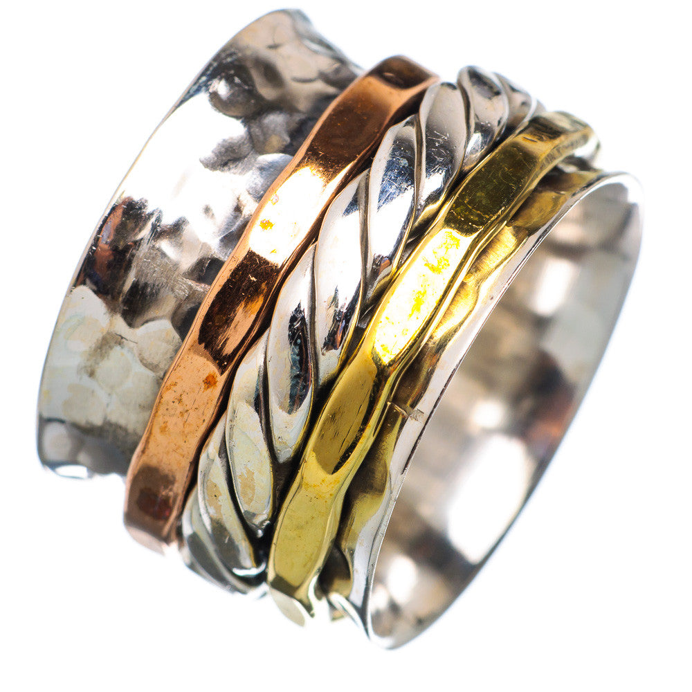 Spinner Ring - Three Tone Rope Band - Keja Designs Jewelry