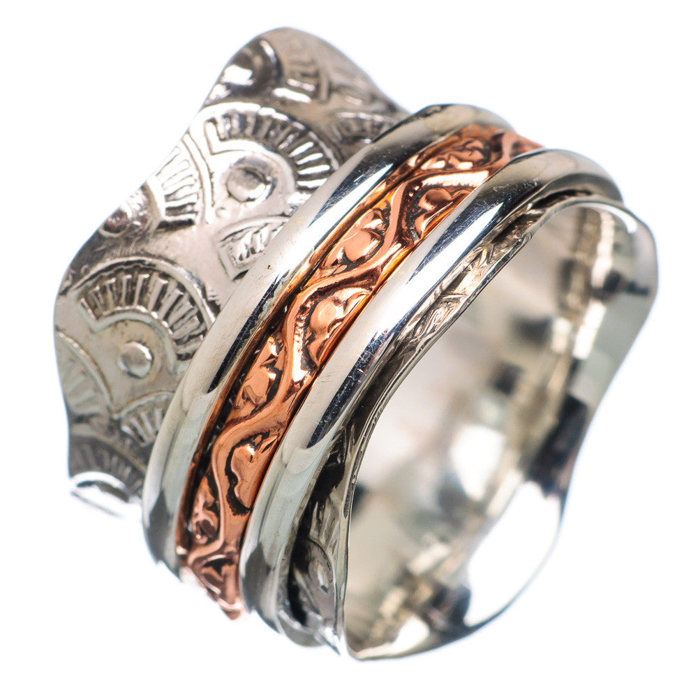 Spinner Ring - Three Tone Scaloped Edge Wide Band - Keja Designs Jewelry