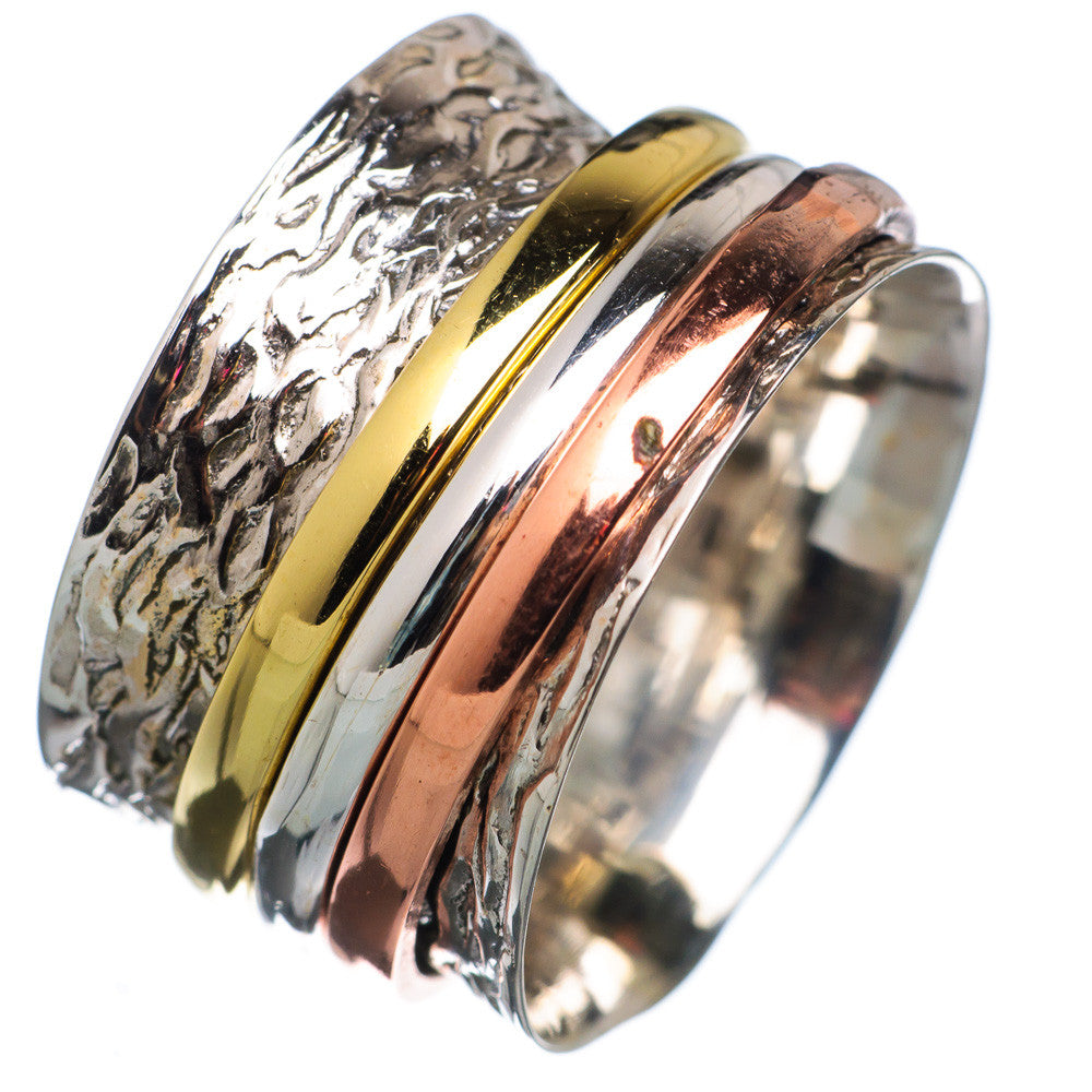 Spinner Ring - Three Tone Three Smooth Bands - Keja Designs Jewelry