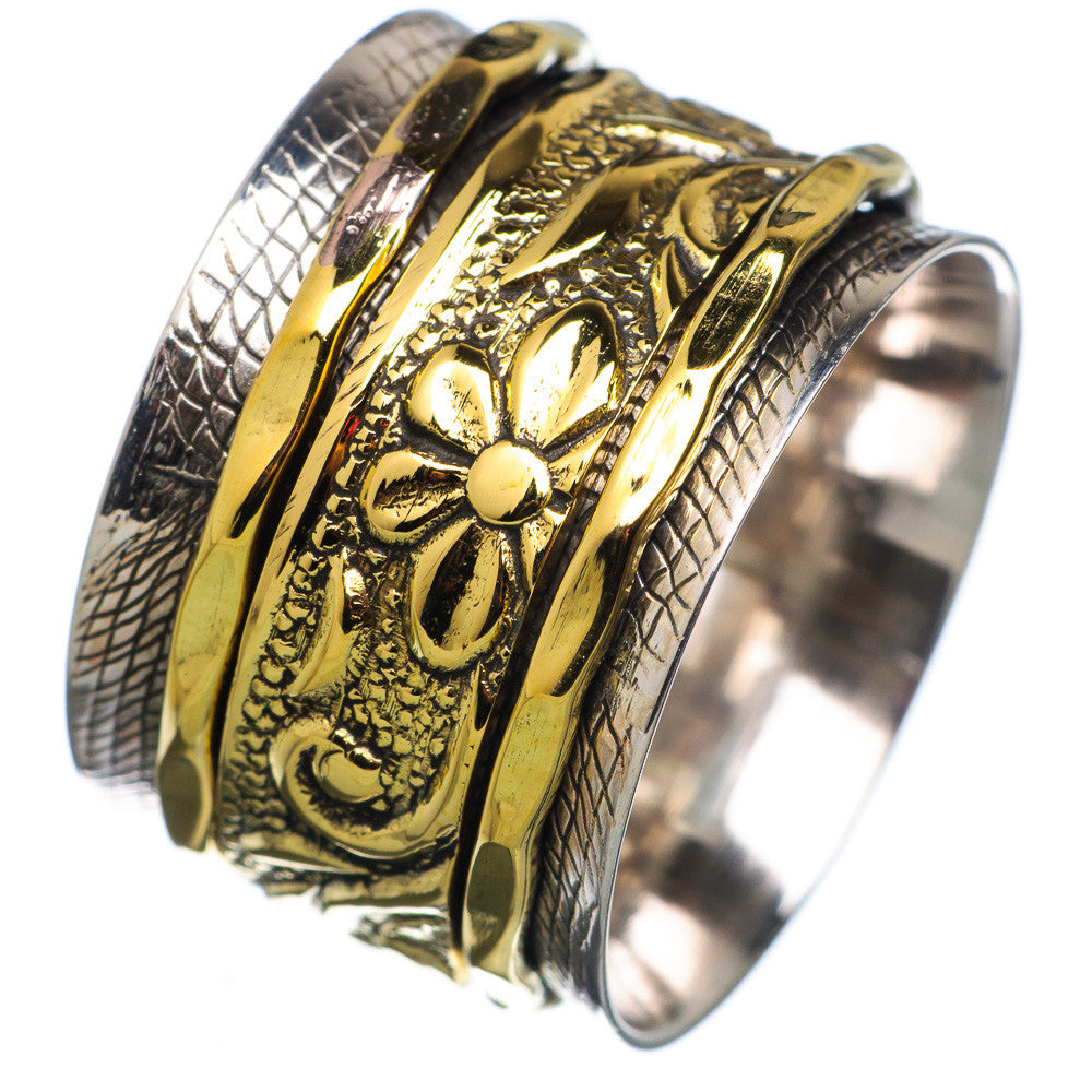 Spinner Ring - Two Tone Fancy Wide Band - Keja Designs Jewelry