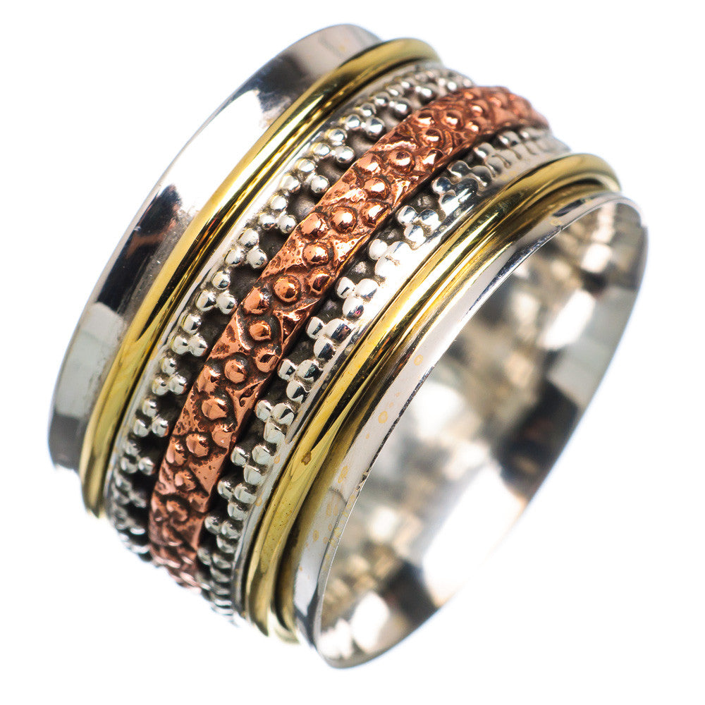 Spinner Ring - Three Tone Five Band Milgrain Spinner - Keja Designs Jewelry
