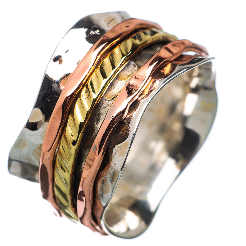 Spinner Ring - Three Tone Scaloped Edge Band - Keja Designs Jewelry