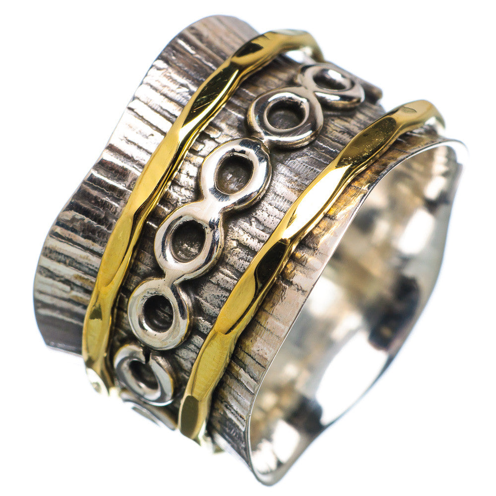 Spinner Ring - Two Hammered Bronze Circle Spinner - Keja Designs Jewelry