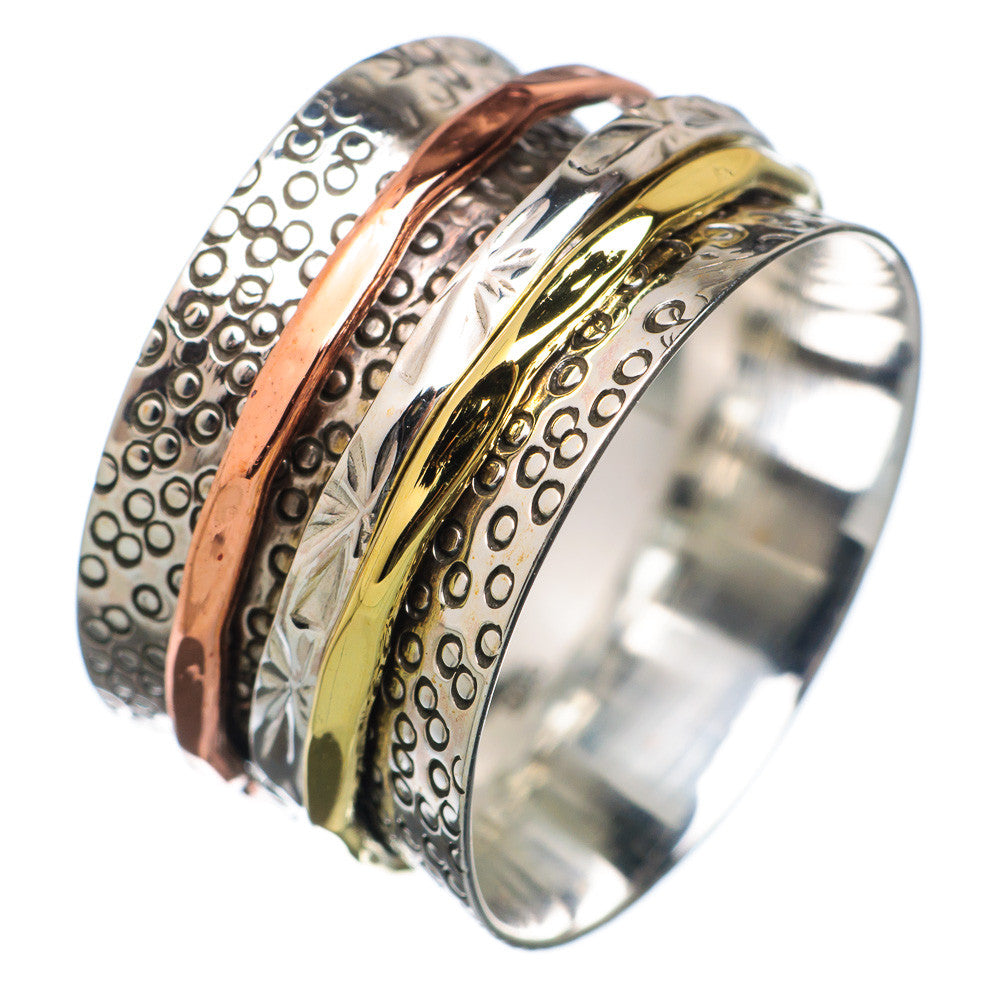 Spinner Ring - Three Tone Textured Spinners - Keja Designs Jewelry