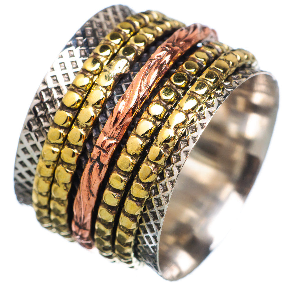 Spinner Ring - ThreeTone Bronze & Copper Spinner Bands - Keja Designs Jewelry