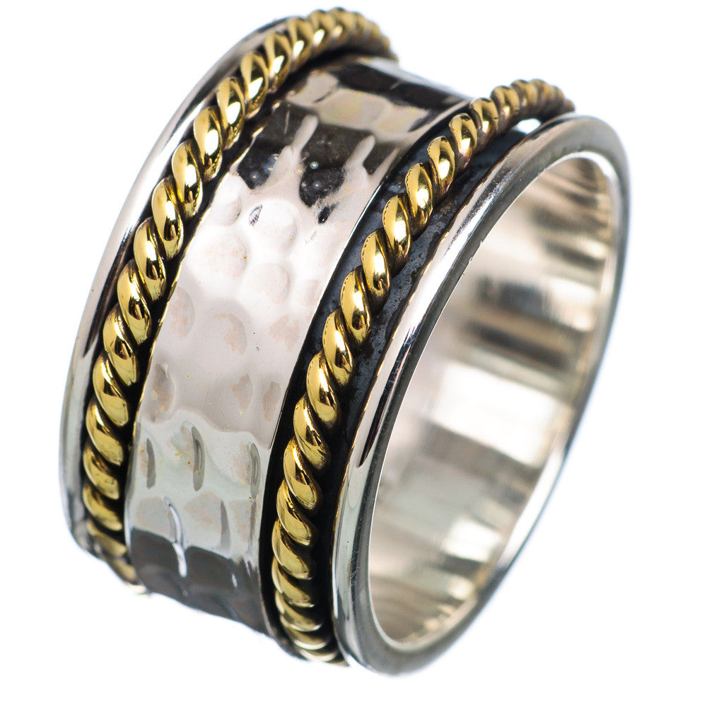 Spinner Ring Two Tone Hammered & Rope Design - Keja Designs Jewelry