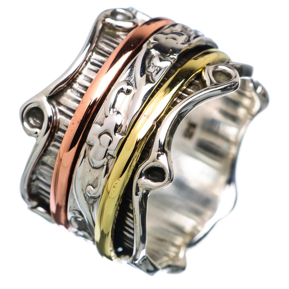 Spinner Ring ThreeTone Three Fancy Spinners - Keja Designs Jewelry