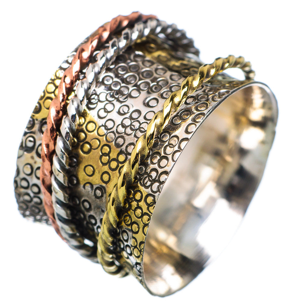 Spinner Ring Three Tone Three Textured Band Spinners - Keja Designs Jewelry