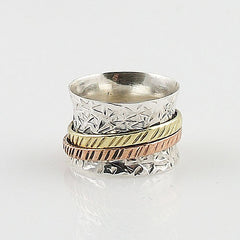 Spinner Ring - Three Tone Two Band- Keja Jewelry - Keja Designs Jewelry