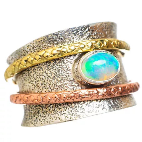 Spinner Ring Ethiopian Opal Oval