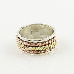 Spinner Ring - Three Tone Woven - Keja Designs Jewelry