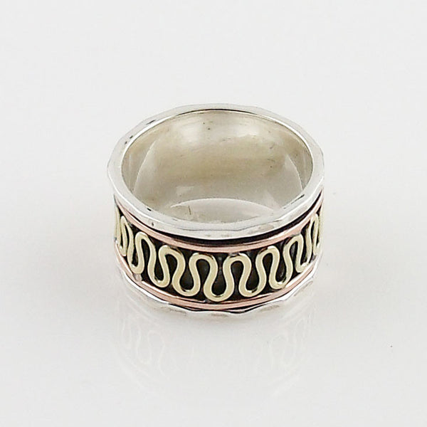 Spinner Ring - Three Tone Zig Zag - Keja Jewelry - Keja Designs Jewelry