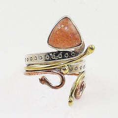 Sunstone Sterling Silver Three Tone Ring - Keja Designs Jewelry