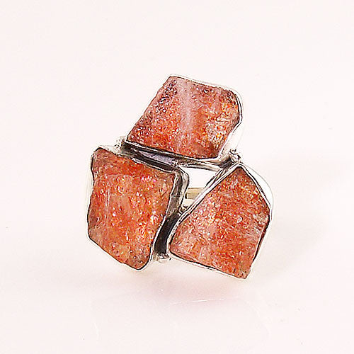 Sunstone Rough Three Stone Sterling Silver Ring - Keja Designs Jewelry