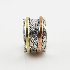 Spinner Ring - Three Tone Two Spinner - keja Jewelry - Keja Designs Jewelry