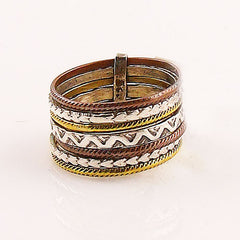 Three Tone Sterling Silver Aztec Tribal Stack Ring - Keja Designs Jewelry