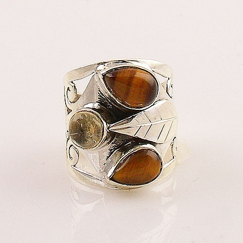 Tiger Eye & Citrine Sterling Silver Fall Leaves Ring - Keja Designs Jewelry