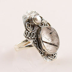 Tourmalinated Quartz & Pearl Two Tone Sterling Silver Ring - Keja Designs Jewelry